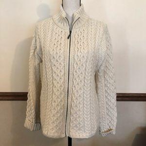 INIS CRAFTS 100% merino wool zip cardigan sweater